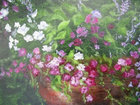 Pink flowers in a ceramic pot