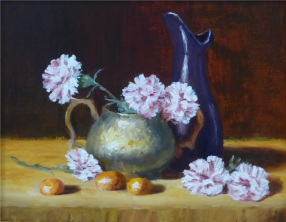 Brass, Ceramic and Carnations